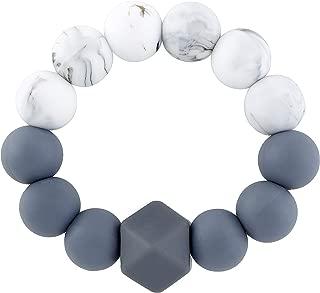 Babe Basics Teething Rattle   Natural Wood & BPA-Free Silicone Teething Toy (Marble + Grey)