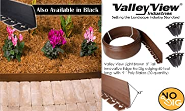 Valley View NDETC-60LB Light Brown 3'' Tall Innovative Dig 60 feet Long with 9'' Poly Stakes (30 Quantity) Lawn Edging, Garden Border