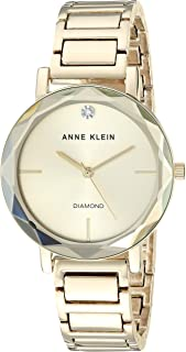 Anne Klein Women's Diamond Dial Bracelet Watch with Faceted Lens