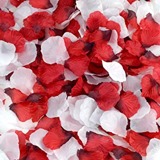 obmwang 2000 PCS Red and 2000 PCS White Dark Silk Rose Petals Wedding Flower Decoration (2000pcs red+2000pcs White)