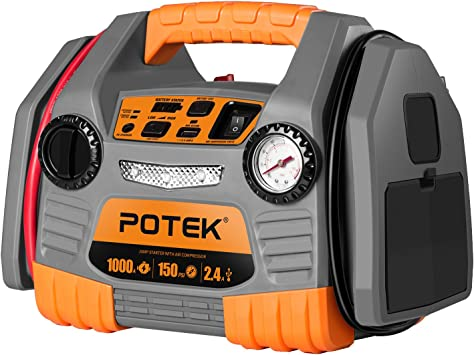 POTEK Car Jump Starter with 150 PSI Tire Inflator/Air compressor,1000 Peak/500 Instant Amps with USB Port to Charge Iphone,IPad, Kindle: image