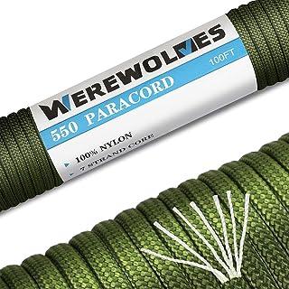WEREWOLVES Paracord 550 Seil - 100% Nylon, Typ III Multifunktional Reißfest Outdoor Survival Fallschirmschnur mit 4mm Stärke,7 Kern - Strängen, Mehrfarben und Mehrgrößen