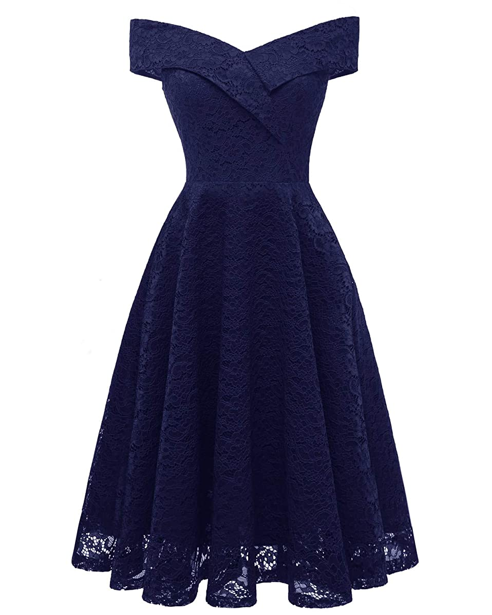 Bright Deer Women Bardot Wrap Front Floral Lace Midi Party Cocktail Prom Dress