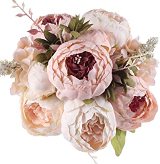 Jyi Hope Vintage Artificial Peony Silk Fake Flowers Peonies Bouquet for Home Wedding Party Dinning Table Decoration (Light Pink)