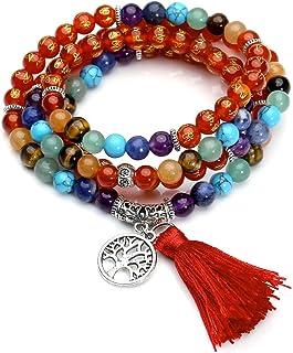 トッププラザ7チャクラBuddhist Mala祈りビーズ108瞑想ヒーリングマルチレイヤブレスレット/ネックレスW / Tree Of Lifeタッセルチャーム