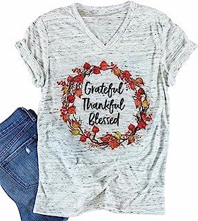 Grateful Thankful Blessed V-Neck T-Shirt Women Funny Tee Top Short Sleeve Blouse