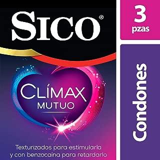 Condones de Látex Texturizados con Benzocaína, Sico Mutual Clímax, Cartera con 3 Piezas