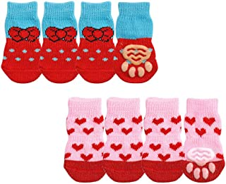 Comidox 2Sets Lovely Paw Socks for Dog Cat Non-Slip Knitted Pet Socks Feet Socks Size S-L
