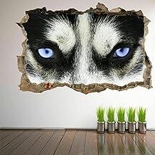 Tatuaje de pared en 302D Ojos husky perro agujero de la pared Sticker Pegatina Adhesivo Calcomanía Decoración para dormito...