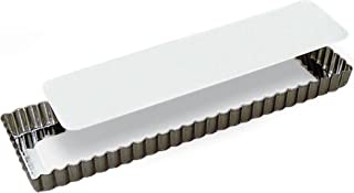 Paderno World Cuisine Rectangular Fluted Tin Tart Mold with Removable Bottom, 13.75 by 4.325-Inch