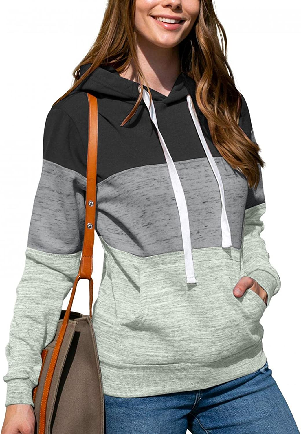 Haheyrte Hoodies for Women Long Sleeve Pullover Color Block Hooded Sweatshirt Thin Drawstring Shirts Tops with Pockets