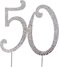 Honbay 50 Cake Topper Premium Sparkly Crystal Rhinestones Cake Topper Cake Decoration for 50th Birthday or Anniversary Party (50 Silver)