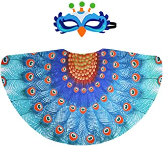 Peacock Costume Kids Bird Wings and Mask for Girls Boys Dress-Up