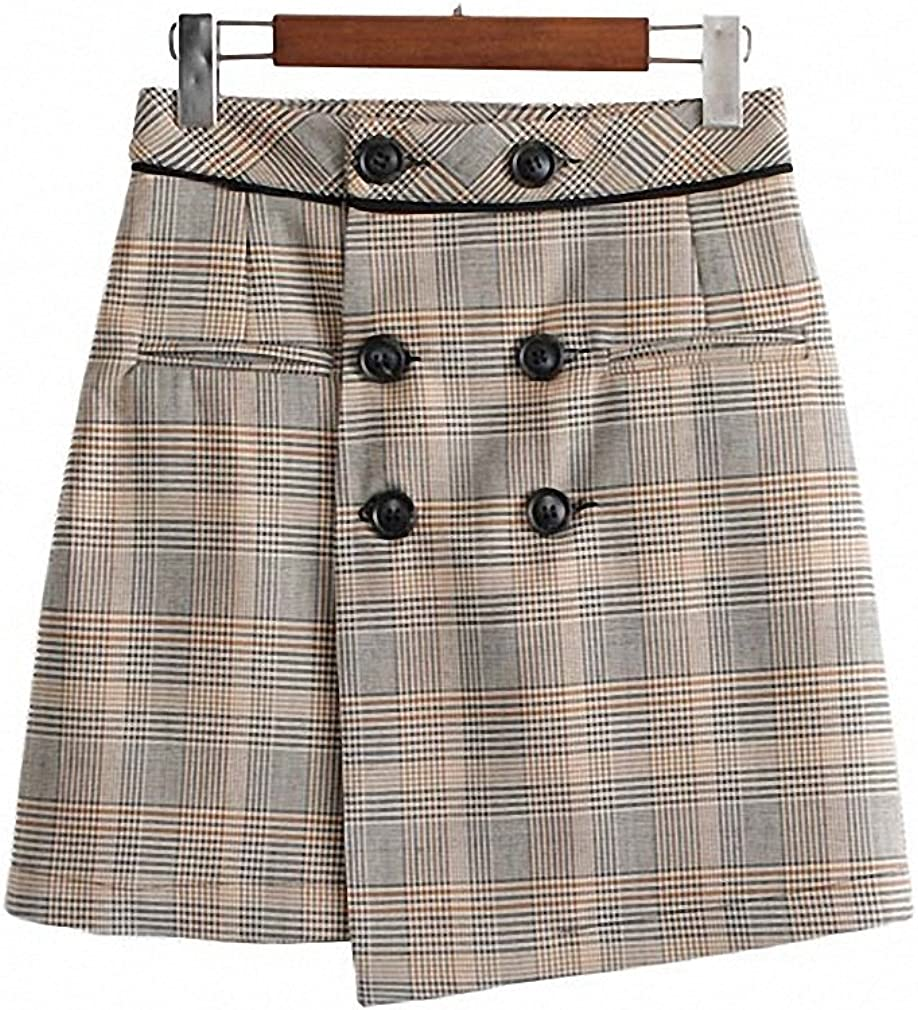 Womens Vintage Plaid Mini A-Line Skirt Faldas Mujer Checkered Double Buttons Ladies Casual Wear Chic Skirts