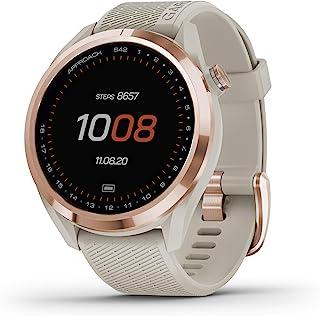 "$299 » Garmin Approach S42, GPS Golf Smartwatch, Lightweight with 1.2"" Touchscreen, 42k+ Preloaded Courses, Rose Gold Ceramic Bez..."