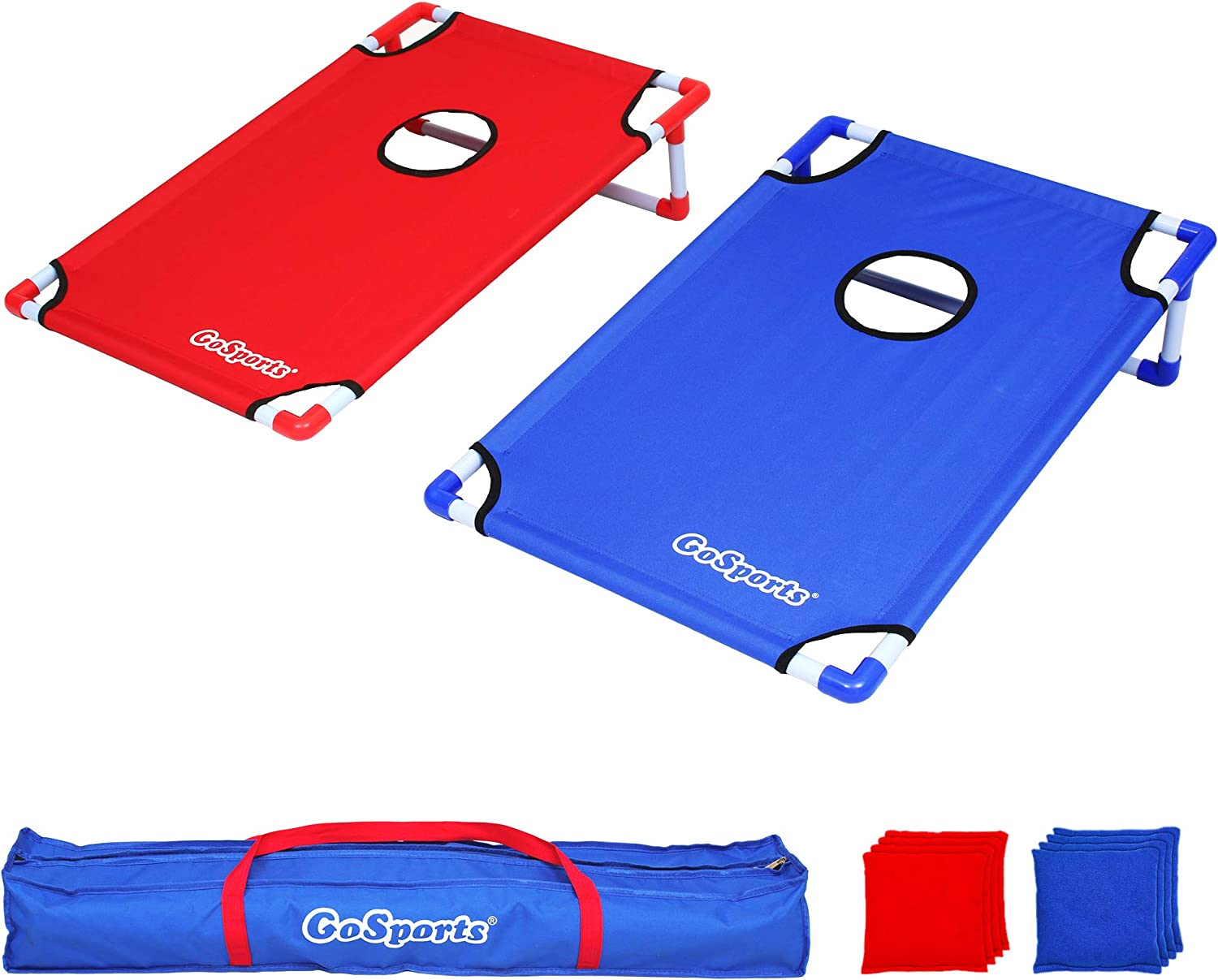 GoSports Portable PVC Framed Year-end annual account Cornhole Toss Game Ranking integrated 1st place Set with Bean 8