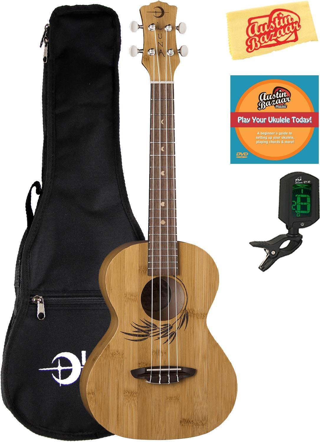 Luna Uke Bamboo Concert Ukulele Bundle with At the price Free shipping / New of surprise Bag Aust Gig Tuner