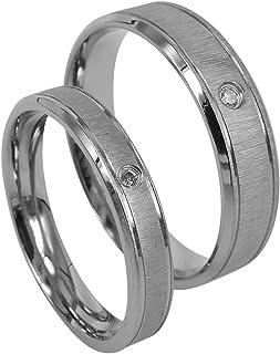Everstone Matrimonio di coppia Anello di fidanzamento Titanio Lucidato Anelli d'argento Taglia 7-37