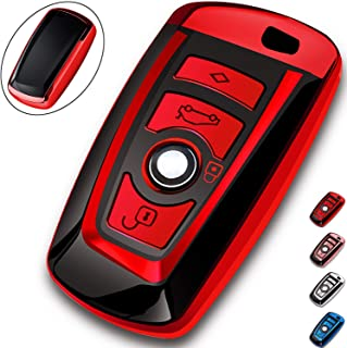 COMPONALL Key Fob Cover for BMW, Key Fob Case for BMW 1 3 4 5 6 7 Series X3 X4 M5 M6 GT3 GT5 Remote Control Key Premium Soft TPU Anti-dust Full Protection Red