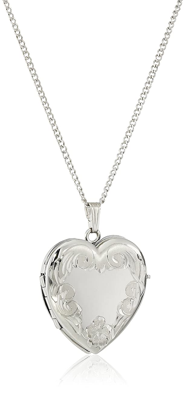 Sterling Silver Engraved Four-Picture Heart Locket Necklace, 20 pemlcm72551