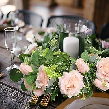 Felice Arts 2 Pack Pink Artificial Floral Flower Garland 13 FT Fake Rose Vine Hanging Rose Garland for Wedding Arch Table Cen