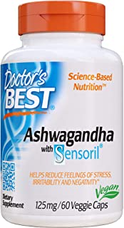 Doctor's Best Ashwagandha with Sensoril, Ayurvedic Herb, Standardized Withania somnifera Extract, Clinically Proven to Sup...