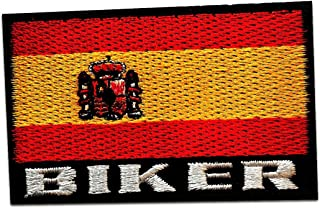 España bandera - Parches termoadhesivos bordados aplique para ropa, tamaño: 7,5 x 4,8 cm