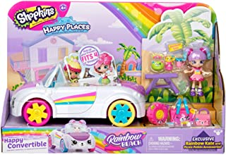 Shopkins Happy Places Rainbow Beach Convertible - Includes Convertible Plus Picnic Petkin Accessories & Rainbow Kate | Hap...
