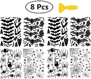 Minelife Halloween Bat Spider Wall Sticker (8 Pcs), Halloween Decorations Scary Bats, Halloween Window Stickers With One Plastic Scraper for Wall Window Bathroom Floor Wall Decals (Black)