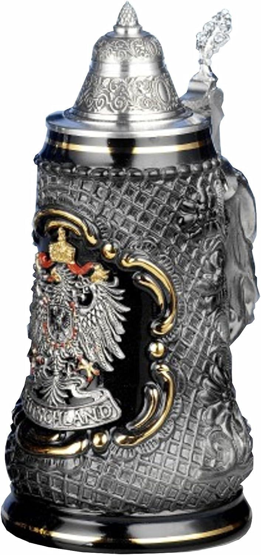 King German Large discharge sale Max 73% OFF Beer Stein Lozenge 0.5 eagle pewter lite