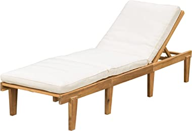 Christopher Knight Home Paolo Acacia Wood Chaise Lounge with Cushion, Teak Finish