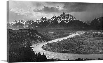 "ARTCANVAS The Tetons - Snake River - Grand Teton National Park - Wyoming Canvas Art Print by Ansel Adams - 12"" x 8"" (0.75"" Deep)"