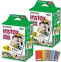 FujiFilm Instax Mini Instant Film 2 Pack (2 x 20) 40 Photo Sheets + 60 Assorted Colorful Mini Photo Stickers - for FujiFil...