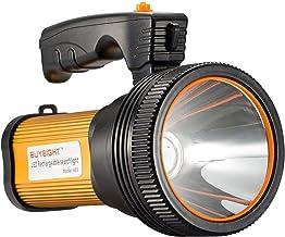 چراغ قوه چراغ قوه قابل شارژ دستی چراغ قوه چراغ قوه چراغ قوه تاکتیکی با دستگیره CREE L2 Spotlight 6000 Lumens پرقدرت برق اضافی بلند مدت با USB خروجی به عنوان یک بانک قدرت (طلایی)