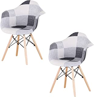 Sweethome - Juego de 2 sillas de comedor con parches modernos, tapizados, para cocina, salón, oficina, café (blanco y negro)