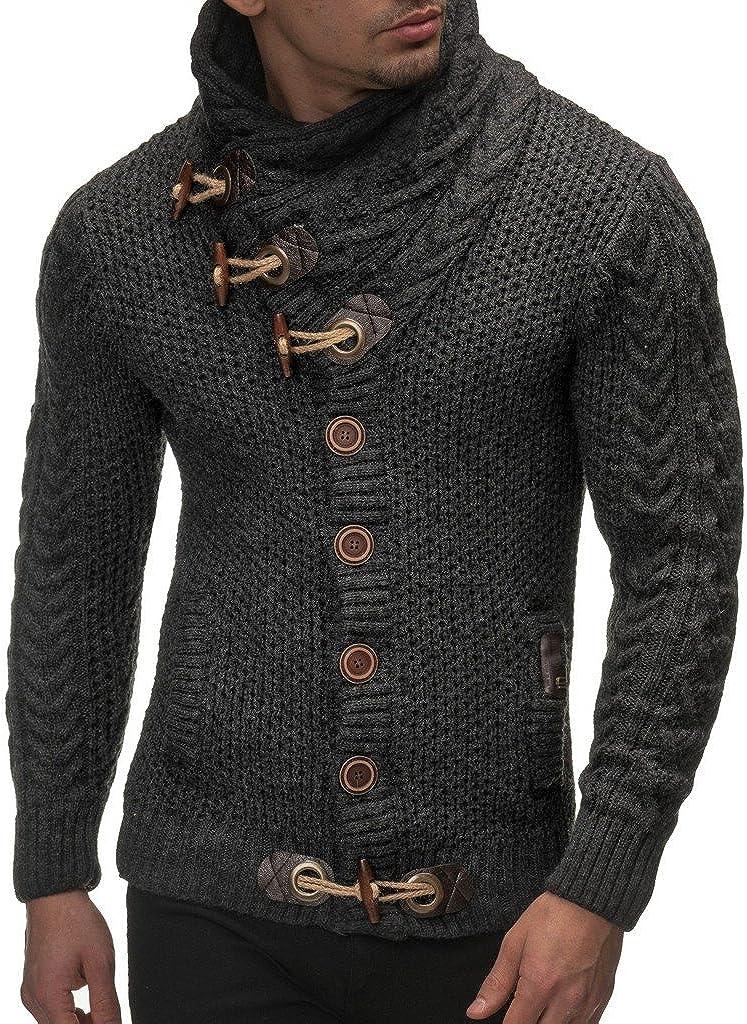 Leif Nelson Men's Outstanding Knitted Jacket Turtleneck Pull San Jose Mall Winter Cardigan