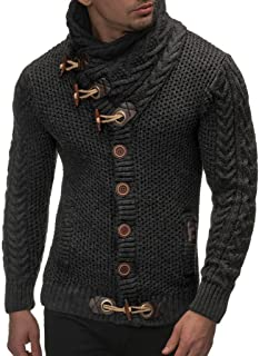 Men's Knitted Jacket Turtleneck Cardigan Winter Pullover Hoodies Casual Sweaters Jumper LN4195