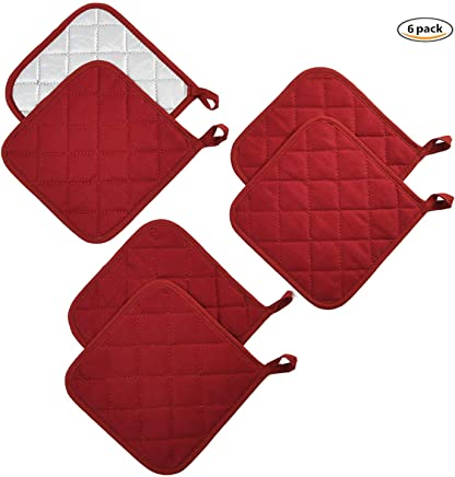 featured product Jennice House Potholders Set Trivets Kitchen Pot Holders Heat Resistant Pure Cotton Coasters Hot Pads Pot Holders Set of 6 for Everyday Cooking and Baking by 7 x 7 Inch (Wine)