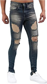 neveraway Mens Washed Fashion Low-Waist Hole Slim Fitted Jeans with Pockets