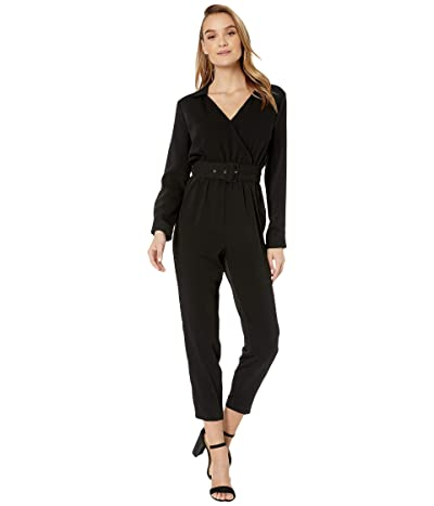Cupcakes and Cashmere Cascade Belted Long Sleeve Crepe Jumpsuit (Black) Women