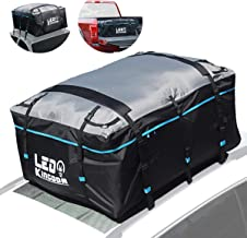 LED Kingdomus Roof Top Cargo Bag, Waterproof Truck Cargo 19cft 600D PVC Coating Soft Shell Carrier Bag for All Cars and Truck Pickup with/Without Rack-Car Roof Mat, Straps & Hooks Included