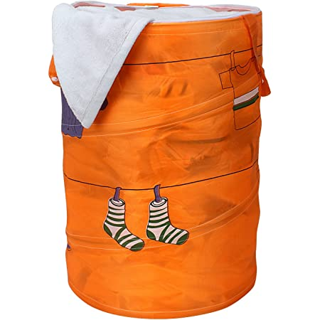 Ao Jie Ya Multipurpose Polyester & Polyester Blend Foldable & Collapsible 50-Litre Pop-Up Laundry Bag Basket - Orange