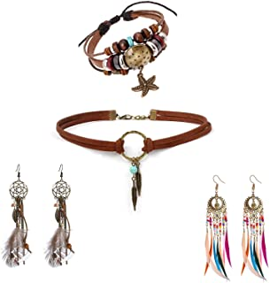 Bohemian Leather Jewelry Set Native American Jewelry Boho Leather Choker Necklace Dream Catcher Artificial Feather Danglin...