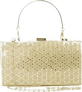 Women's Rhinestone Glitter Clutch Purse beaded sequin Evening Bag Ring Clasp Crossbody Bag