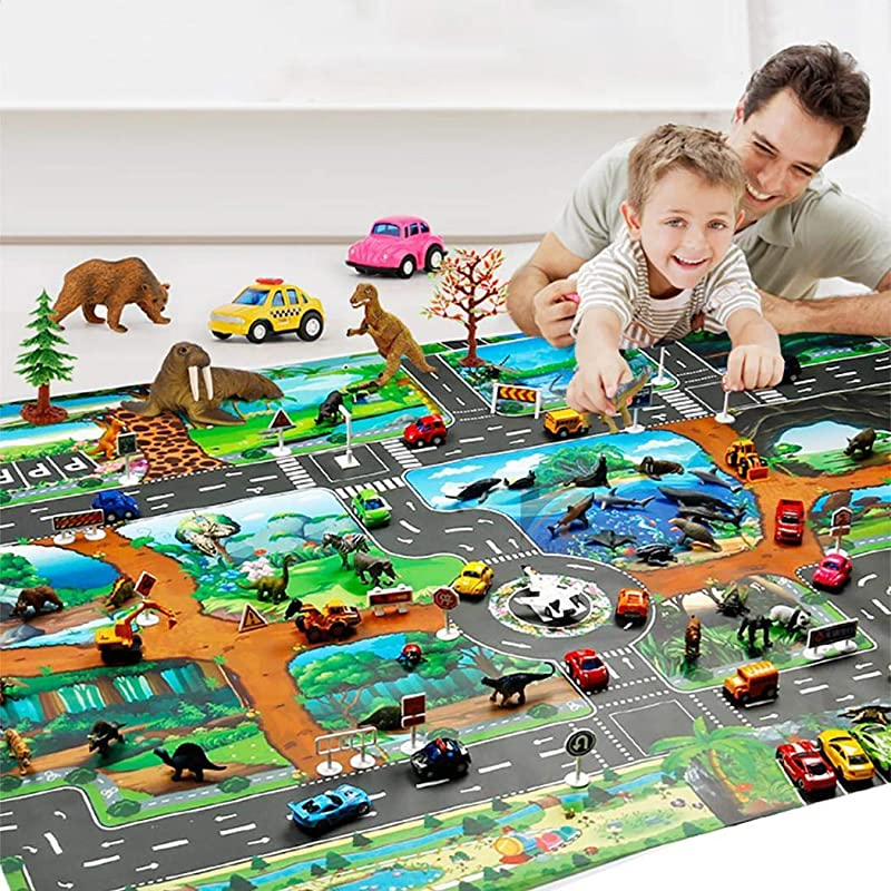 Leoneva Kids Map Taffic Animal Play Mat Baby Road Carpet Home Decor Educational Toy Baby Gyms Playmats