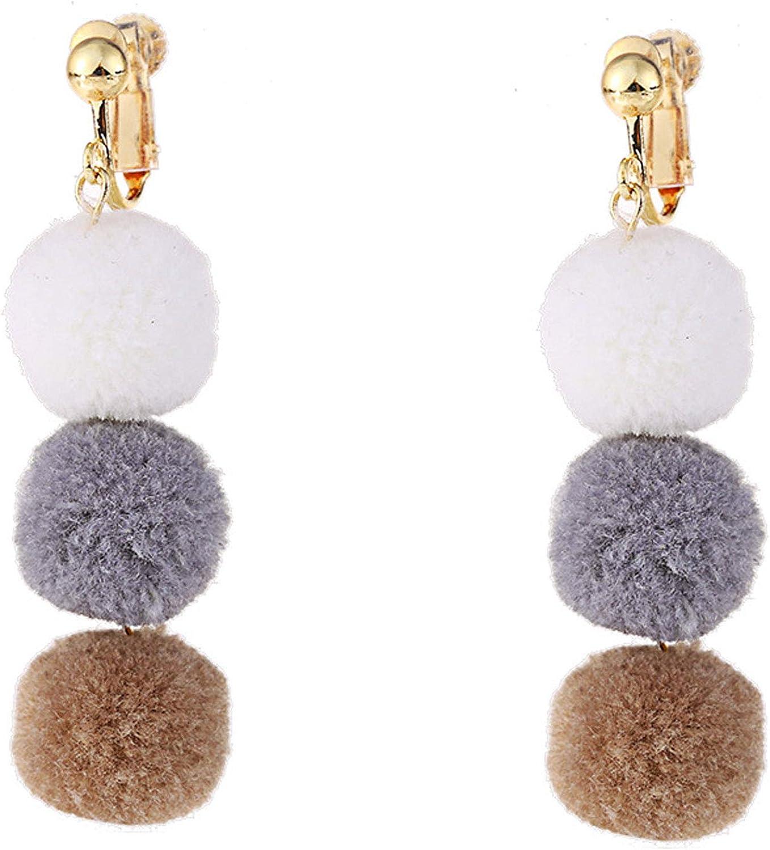 Tiered Hairball Clip on Earrings Long Dangle Layered Faux fur Ball non Pierced for Women Girls Bohemian