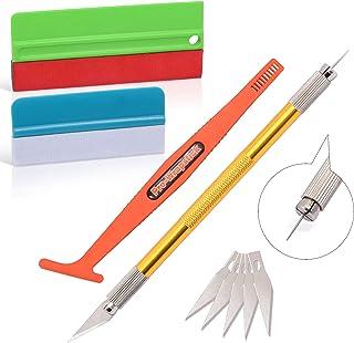 Ehdis Kits de aplicador de instalación de película de vinilo: papel de envoltura de tinta con fieltro de tela y microfibra, navaja artesanal, palo magnético de envoltura