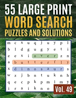 55 Large Print Word Search Puzzles and Solutions: Activity Book for Adults and kids Full Page Seek and Circle Word Searches to Challenge Your Brain ... & Seniors) (Find Words for Adults & Seniors)