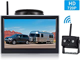 HD 720P Digital Wireless Backup Camera System for RV/Truck/Van/Trailer/Pickup with 5''Monitor High-Speed Observation System Night Vision IP 69K Waterproof Guide Lines On/Off Continuous/Reverse Use