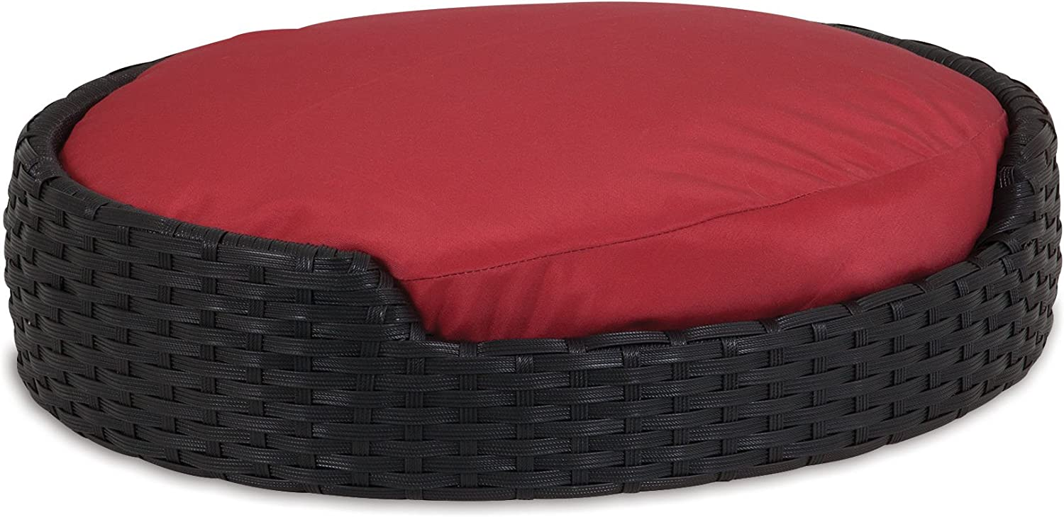 Petmate 80238 22Inch x 18Inch Poly Wicker Oval Bed with Cushion
